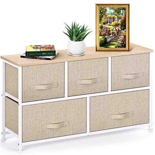 Pipishell Commode en tissu avec 5 tiroirs, grande tour de rangement, unité de rangement avec dessus en bois et poignée facile à tirer pour placards, salon, chambre d'enfant, couloir