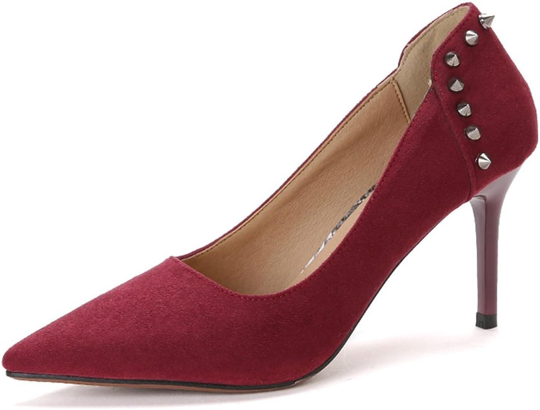 RUGAI-UE Pumps Suede shoes Fashionable Single shoes Women's Shallow Rivets Pointed Heels Fine Heels