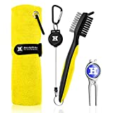 """Handy Picks Microfiber Golf Towel (16"""" X 16"""") with Carabiner, Club Brush, Golf Divot Repair Tool with Ball Marker - Golf Accessories, Ideal for Golfers 3 in 1 Golf Cleaning Kit (Pack of 3, Yellow)"""