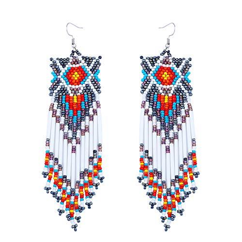Orecchini stile etnico orecchini fatti a mano in tandem perline di riso lunghi orecchini con nappine design semplice ed elegante bianco argento