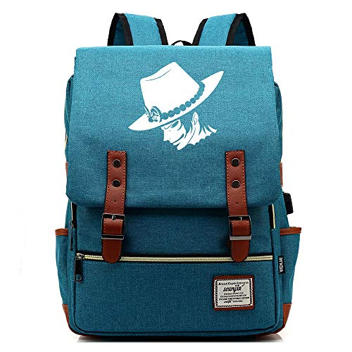 XYUANG One Piece Portgas·D· Ace USB Nine Colors Unisex Business Laptop Backpack Professional Laptop Backpack with USB Charging Port