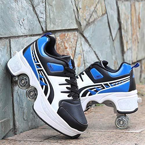 SDFXCV Inline-Skate 2-in-1-mehrzweckschuhe Schlichte Und Stilvolle Verformte Unisex-Rollschuhe Mit Zweireihiger Riemenscheibe Für Den Outdoor-Sport,Blue-36