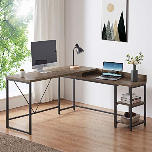 IBF Reversible L Shaped Desk with Storage, Modern Computer Desk for Student Study, Metal and Wood Gaming Desk with Shelves, Industrial Corner Desk for Home Office, Rustic Oak, 59 x 55 inch