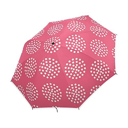 NC Paraguas Plegable Compacto, Lunares Rojos de Flores, Paraguas de Lluvia de...