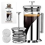 French Press Coffee Maker - 4 Level Filtration System - 304 Grade Stainless Steel - Heat Resistant...