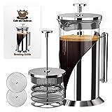 Cafe Du Chateau Cafetera francesa de prensa (1 litro) - Cafetera de acero inoxidable con 4 niveles de filtración - Cafetera de prensa con jarra resistente al calor