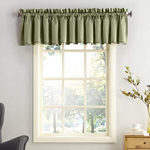 Sun Zero Barrow Energy Efficient Rod Pocket Curtain Valance, 54' x 18', Sage Green