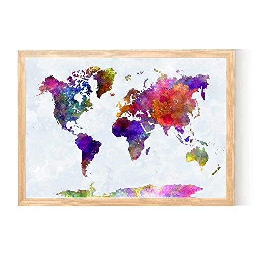 fancjj 1000 Piezas puzzle/50x75cm/Mapa del Mundo Acuarela Abstracta/Juego Educativo Reliever difícil desafío Rompecabezas para niños DIY decoración del hogar