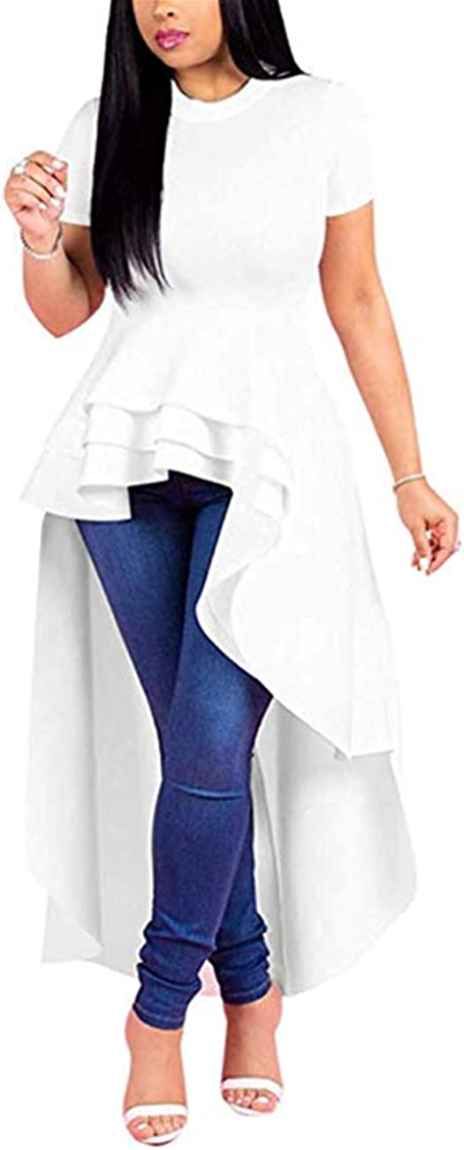 Lrady Women Ruffle High Low Asymmetrical Bodycon Peplum Tops Blouse Shirt Dress