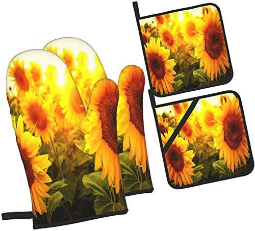 Manoplas y agarraderas de horno con flores florales de girasol, juego de 4 piezas, soporte profesional a prueba de agua para ollas y guantes para hornear