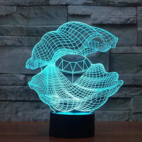 3D nachtlampje 7 kleurrijke schelpen van de remote tafellamp creatief nieuw USB LED 3D nachtlicht bureaulamp