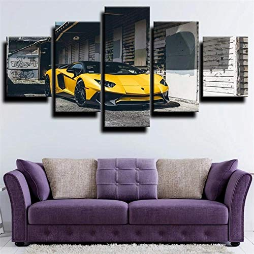 GSDFSD Canvas Picture-5 Piece- Sport car yellow Lambor -150x80cm-5 Part Panels-Ready to Hang-wall art print-Completely framed-Image printed-art on canvas-Christmas Ornaments