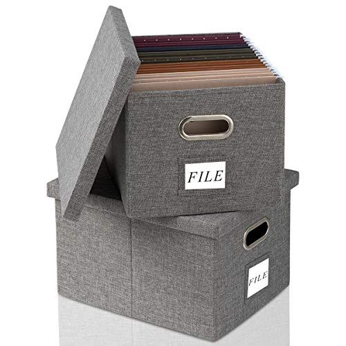 Caja de almacenamiento plegable con tapa [2 unidades] de lino decorativo para archivar la oficina o la oficina, para colgar cartas, carpetas legales o en el hogar o la oficina