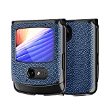 Custodia® Textured Leather Hülle Foldable,Anti Vibration und Anti Fall,Comfortable Grip Full Protection Shell Compatible for Motorola Razr 5G/Motorola Razr 2(6)