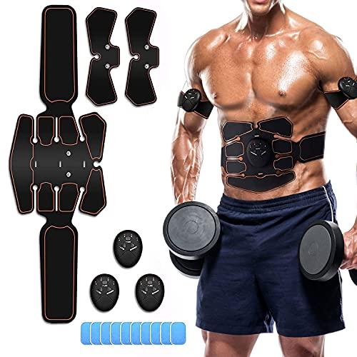 Moonssy Electroestimulador Muscular Abdominales, EMS Estimulador Muscular Abdominales Cinturón, ABS Estimulador Muscular para Bdomen/Brazo/Piernas/Glúteos