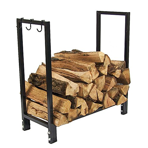 Sunnydaze Log Rack Firewood Holder with Hooks - Indoor/Outdoor 30-Inch Black Steel Metal Fireplace Wood Storage Stand with Holders for Fireside Tools and Accessories