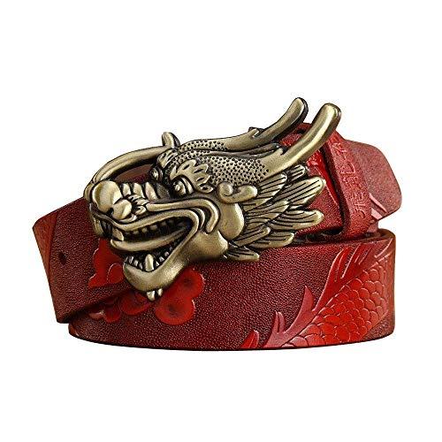 LAMZH Cinturones casuales de cuero para hombre, grifo dominante, cinturón decorativo con hebilla de cuero, resistente a los arañazos (color rojo, tamaño: 125 cm)
