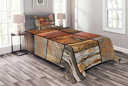 ABAKUHAUS Antiquität Tagesdecke Set, Holz-Holz-Tür-Key, Set mit Kissenbezug Maschienenwaschbar, für Einselbetten 170 x 220 cm, Schokolade Braun
