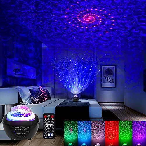 Klighten LED Sternenhimmel Projektor Lampe Nachtlicht, Sternenlicht Projektor Wasserwellen Galaxie Projektor mit Fernbedienung/Bluetooth Lautsprecher/Timer/Wiederaufladbare Batterie für Party Kinder