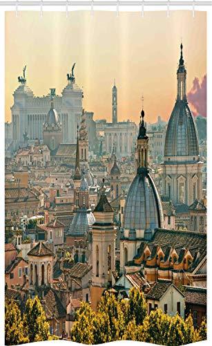 ABAKUHAUS Stadt Schmaler Duschvorhang, Rom historisches Wahrzeichen, Badezimmer Deko Set aus Stoff mit Haken, 120 x 180 cm, Lachs Elfenbein Grün