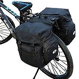 自転車用リアバッグ/自転車用サイドバッグ 50L 大容量 防水 自転車用バッグ キャンバス 自転車用バッグ サイクリングバッグ サイクリング キャンプ/バイク/レインカバー付き (ブラック)