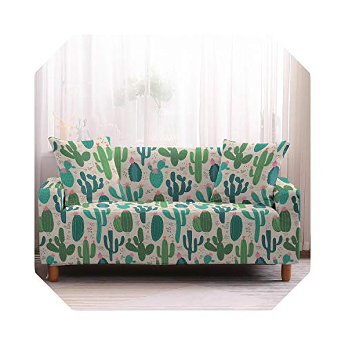 Shop1994 Green Sactus Sofa Cover Elastic Stretch Modern Chair Couch Covers Living Room Furniture Protector 1/2/3/4 Seater-2-1 Seater