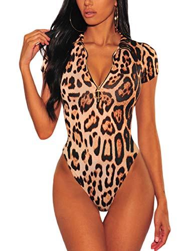 SEBOWEL Damen Sexy Leopard Bodysuit Kurzarm V-Ausschnitt Trikot Jumpsuit Tops Bodycon Bluse T Shirt Clubwear (S, Braun)