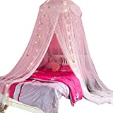 Nattey Comfort Blue Star Lace Net Bed Canopy Curtain (White Star)