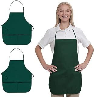 OTTO 7.5 oz. Cotton Blend Twill Two Pocket Medium Bib Apron for Men & Women (One Size Fits Most) (OSFM, Dk. Green (2 Pack))