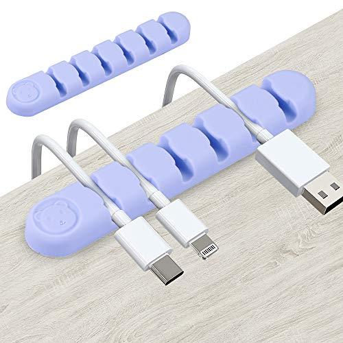 Kabelclips Kabelhalter Kabel Management Kabel Organizer, 2er-Pack (6 Steckplätze) Vielzwecke Kabelführung Kabel Organizer Set für Schreibtisch, Netzkabel, USB Ladekabel, Ladekabeln usw, Lila