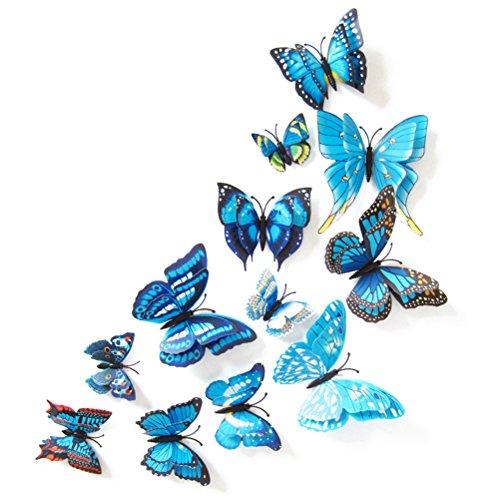 Calamite Frigo VORCOOL Magneti da Frigo Farfalle da Parete 3D 12 Pezzi (Blu)
