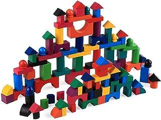 Mumoo Bear Wooden Building Blocks Set for Kids,112PCS Stacking Wooden Building Blocks Toys Set Preschool Learning Educatio...