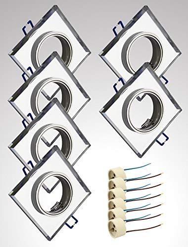Trango 6er Set Design Einbaustrahler TG6729S-06 Einbauleuchten Deckenleuchte Strahler Badleuchte aus Spiegelglas & Alu incl. GU10 Fassung schwenkbar Deckenstrahler Deckenspots Einbauspots