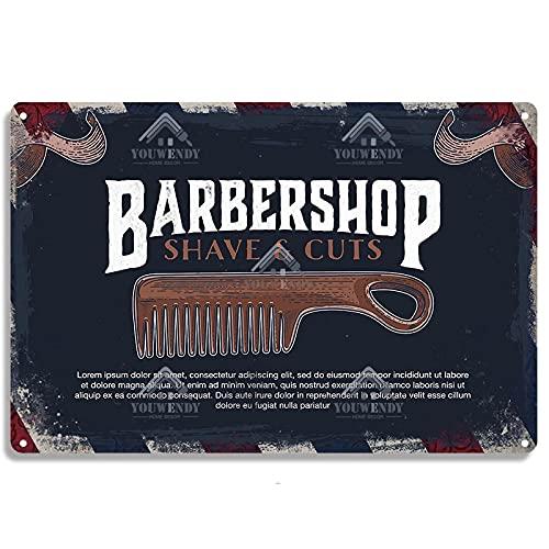 ALLYAOFA Retro Barber Shop Metal Cartel de Chapa Herramienta de Corte de Pelo Placa de Metal Barber Pole Sign Arte de la Pared Decoración Cartel de Metal 70624
