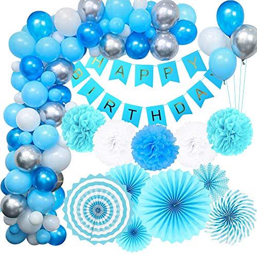 MMTX Decoraciones Cumpleaños de Fiesta para Niños Hombres, Azul Globos Cumpleaños Pancarta...
