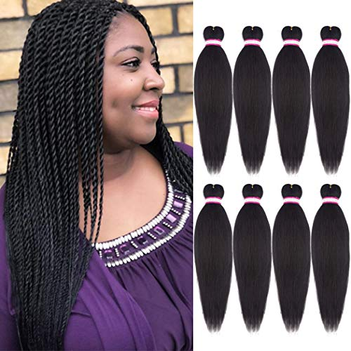Pre-stretched Braiding Hair Synthetic Braids Professional Hair Extensions for Braiding 20 Inch Yaki Texture Straight Dark Brown Color Crochet Twist Hair 8Pcs/lot (#4)
