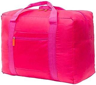 Waterproof Nylon Foldable Travel Bag Storage Duffel Bag Packable Lightweight Luggage Bag for Men and Women Rose Pink