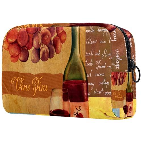 Bolsa de cosméticos Bolsas de Maquillaje para Mujeres, pequeña Bolsa de Maquillaje Bolsas de Viaje para artículos de tocador - Copa de Vino Tinto Fina Vintage Hoja de UVA