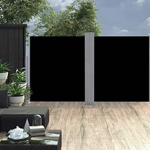 Festnight Ausziehbare Seitenmarkise Balkon Garten Terrasse Seitenmarkise Zertifiziert Sonnenschutz Sichtschutz Schwarz 140 x 600 cm