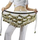 Pañuelo de Danza del Vientre Mujer Baile Oriental Bufanda Falda Cinturón de Cadera con 271 Monedas Lentejuelas (ZP142-blanco, Talla única)