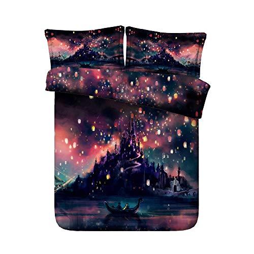 KTUCN Grand Nature Scenery Hd Digital Print Bedding Sets, Quilt Cover Flat Bed Sheet Pillowcase Set, Eu, Double 4Pcs