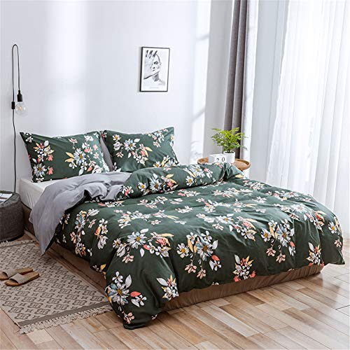 Lurson 100% Cotton Duvet Cover Sets Green Grey Kids Girls Queen Bedding Sets Garden Vintage Floral Pattern Bedding Collections, Soft Breathable Comfortable Comforter Cover with Zipper Ties