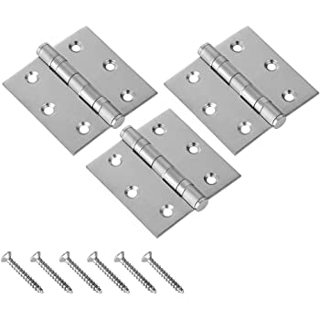 Ouioui 4 Inch x 3Inch Stainless Steel Ball Bearing 10-Hole Thicken Hinges with Soft Close Ball Bearing for Interior//Exterior Door Use Door Hinges 2 Pack