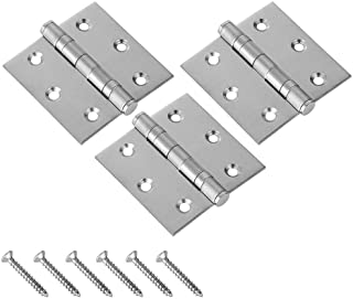 JQK Door Hinges Stainless Steel Thickened Closet Door Hinge with Soft Close Bearing Brushed Finish 3.5 x 3.5 3 Pack HDH100-P3