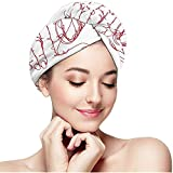 Weiping shop Self Love Hand Drawn T Shirt Print Design Microfiber, Fast Drying Hair Towel with Button Wrap Turban