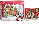 Disney Mickey And Minnie Mouse Christmas Holiday Gingerbread House Craft Kit and Mini Candy Canes...