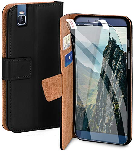 moex Handyhülle für Huawei ShotX - Hülle mit Kartenfach, Geldfach & Ständer, Klapphülle, PU Leder Book Hülle & Schutzfolie - Schwarz