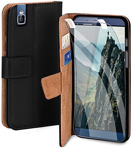 MoEx® Premium 360 Grad Schutz Set passend für Huawei ShotX | Solider Handy Komplett-Schutz [Hülle + Folie] Beidseitige Abdeckung mit Handytasche & Schutzfolie, Schwarz