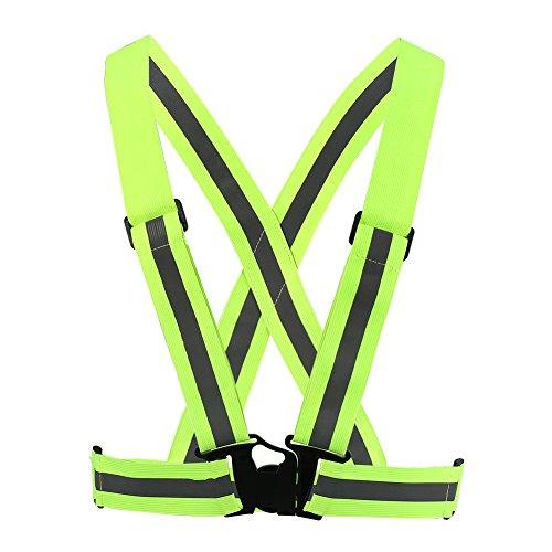 eecoo Chaleco Reflectante, Alta Visibilidad Chaleco de Seguridad Ajustable con Fluorescente, Adecuado para Deportes al Aire Libre, Correr de Noche, Caminar y Montar en Bicicleta (Verde)