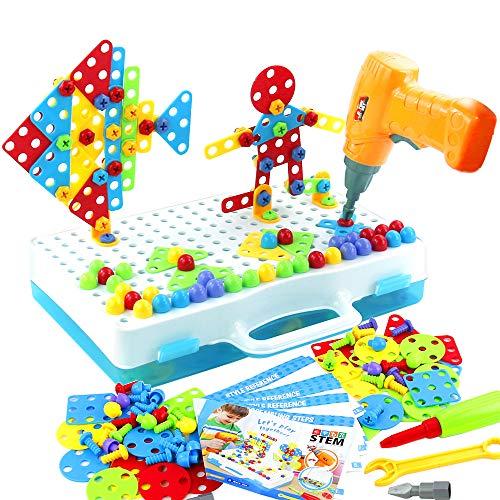 jerryvon Juguetes Montessori Puzzle 3D - Puzzles Mosaicos Juguete de Construcción con Rejilla y Taladro Eléctrico Caja de Herramientas Juegos Creativos y Manualidades Regalos para Niños 3 4 5 6 Años